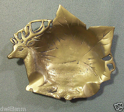 Cast Brass Deer & Leaf Motif Ashtray Or Coin Tray - Free Shipping
