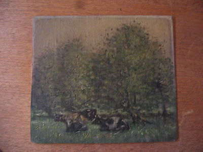 original oil painting cows in field impressionist 50s 60s