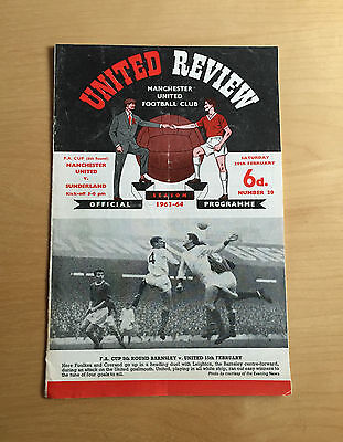 1963/1964 MANCHESTER UNITED v SUNDERLAND : FA Cup Feb 29th w/ token