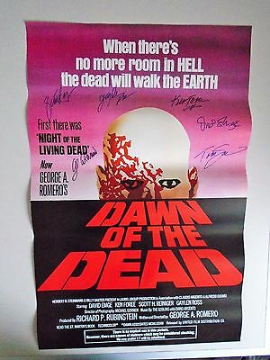 Zombie Dawn of the Dead George A Romero USA signed re-print Poster.
