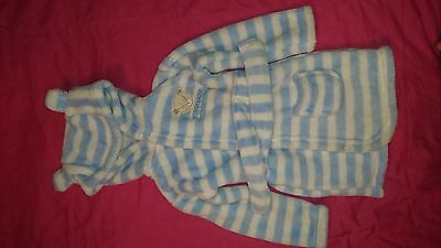 Baby Boys Baby Bear Blue & White Striped Dressing Gown Size Age 9-12 Months