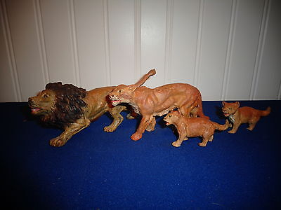 German Lion Family, Lion, Lioness, and Two Clubs Very Nice Perfect for Putz
