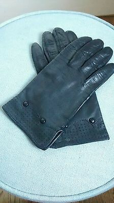 Vintage Soft Black Leather Gloves Lined Size 7