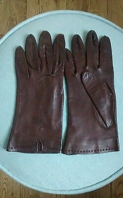 Vintage Soft Brown Leather Gloves Silk Lined Size 7