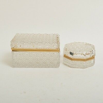 Bleikristall Lead Crystal Hinged Boxes - Jewelry, Trinkets-Excellent Cond.