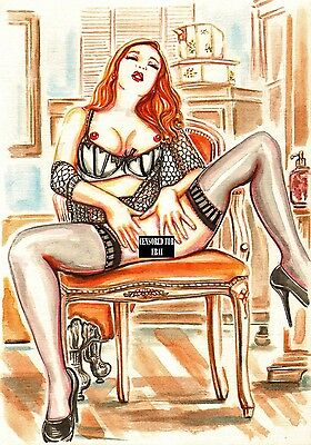 Lingerie - A4 Art Print, Acrylic Female Painting On Paper,sensual Nude Erotic