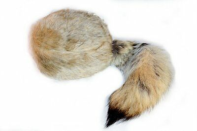 Coyote Tail Davey Crockett Coonskin Cap Real Tail Fur Coon Daniel Boone Hat