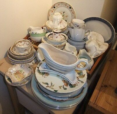 Job lot of Vintage English China Side Plates Cups Saucers Jugs COLLECTION ONLY