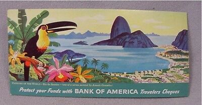 Vintage Bank of America Travelers Cheques Checks Ink Blotter Rio