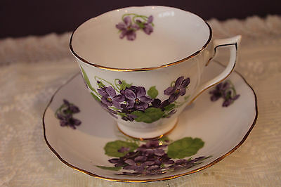 Melba Bone China Teacup And Saucer - Purple Violets With Gold Trim