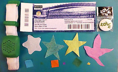Coldplay Head Full of Dreams Wristband, Ticket, Badge, Confetti–Xyloband–5 June