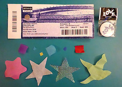 Coldplay A Head Full of Dreams Ticket, Blue Badge & Confetti – Manchester 5 June