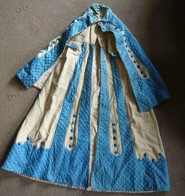 stunning victorian/ edwardian childs coat blue & cream, quilted, covered buttons
