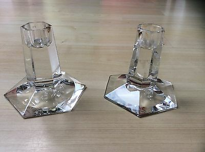 Attractive Pair Crystal Tiffany & Co F L Wright FDN 1986 Candle Holders/Sticks