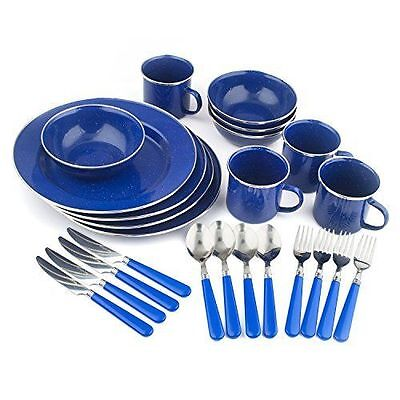 Stansport 11220 Enamel Camping Tableware Set, 24-Piece, Blue...