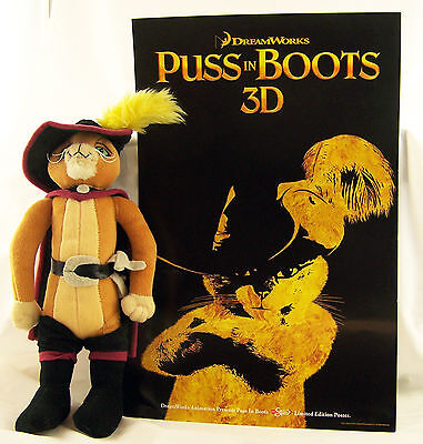 """PUSS In BOOTS Shrek 2, Stuffed Toy Doll Velour 12"""" Cat & 11"""" By 17"""" Movie Poster"""