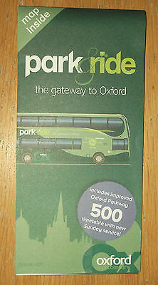 Oxford Bus Company Park & Ride bus map/timetable October 2015 edition
