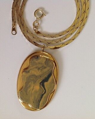 Beautiful Marbled Ceramic Pendant Necklace 1970's Signed