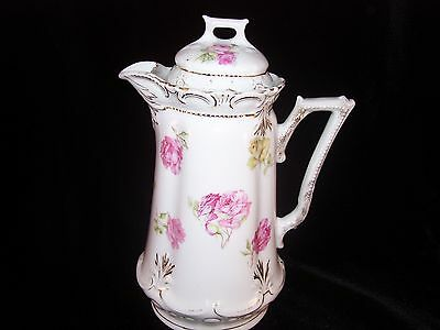 Vintage Lidded Porcelain Chocolate Pot Coffee Pot Pink Floral Roses Unmarked