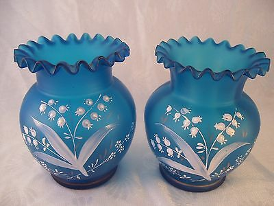 Victorian Pair Blue Satin Bristol Glass Vases Enameled Lily of the Valley (2)