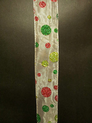 Quality Wire Edge Ribbon 38mm White Organza Red Green sparkle glitter dot New