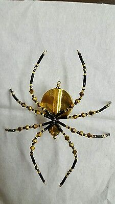 Black And Gold Glass Beaded Christmas Spider Ornament German Legend of Tinsel