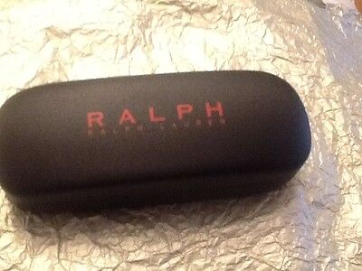 New RALPH LAUREN Black Hard Case Sunglasses / Cleaning Cloth