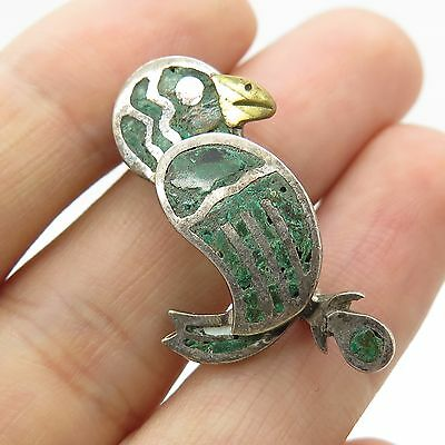 Antq Mexico 925 Sterling Silver Real Gemstone Parrot Pin Brooch