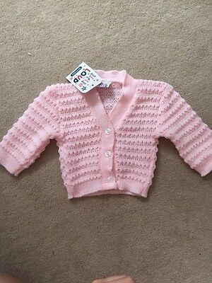 BNWT Baby Knitted Pink Cardigan 3-6months Little But Loud