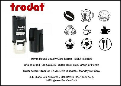 Loyalty Card Rubber Stamp 10mm Circle ideal for Cafe Bars Coffee Shop Car Wash