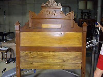 Vintage Walnut Victorian 3/4 size bed with Carved Crest SPECIAL PRICE