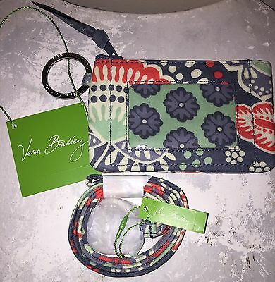 VERA BRADLEY Zip ID Case & Lanyard Badge Holder Key Ring NOMADIC FLORAL NWT