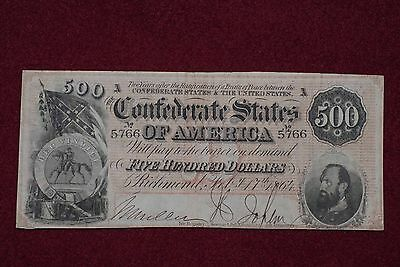 1864 $500 Confederate Currency T64
