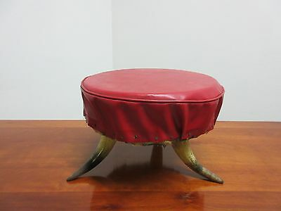 Antique Steer Cow Horn Foot Stool Ottoman Bench Seat