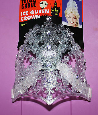 NEW Totally Ghoul Ice Queen Crown Halloween  One Size Snowflake Crystal Princess