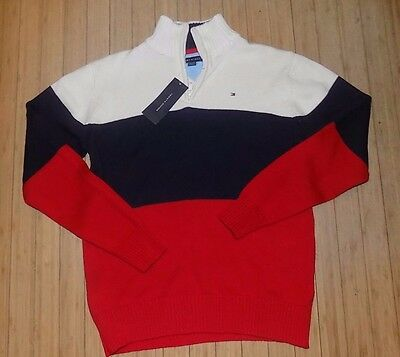 NWT BOYS Tommy Hilfiger 1/4 Zip Pullover Sweater Navy/White/Red~SZ LRG 16-18
