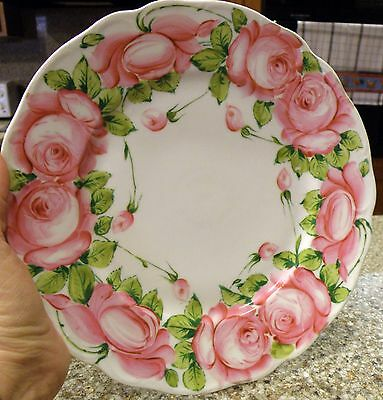 """Hand Painted German Porcelain Plate Marked """" Old Rose Germany"""" Beautiful Floral"""
