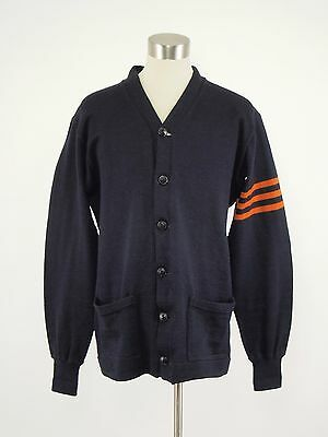 1930s-40s LOWE & CAMPBELL Vintage Navy Wool Athletic Cardigan Sweater Mens 44