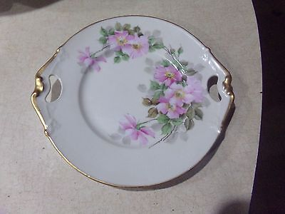 B & Co Limoges France Hand Painted Handled Tray Eggshell & Brushed Gold C 1925