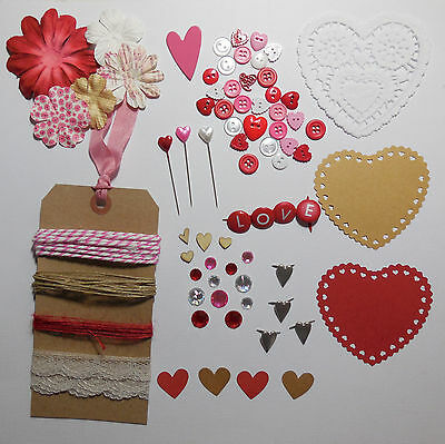 Valentine Embellishment Pack Die Cuts Buttons Lace Twine Flowers Wood Shapes
