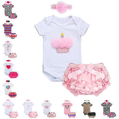 3PCS Baby Girls 1st Birthday Romper Headband Outfit Bodysuit Pants Party Clothes