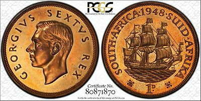 1948 South Africa Proof Penny PCGS PR63RB
