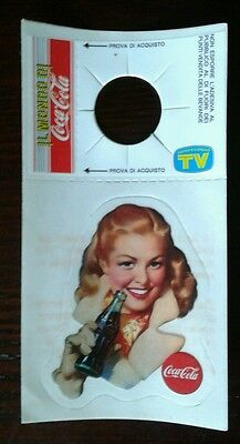 Vintage CUTE BLONDE GAL Coca Cola Coke STICKER Decal Bottle Hanger ITALY RARE