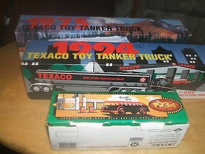 three collectable trucks new in box texaco,1934,,1994,1975 tanker banks