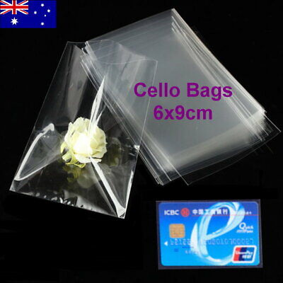 100pcs 6x9cm Small Cellophane Cello Plastic Gift Card Bags (No Flap & No Seal)