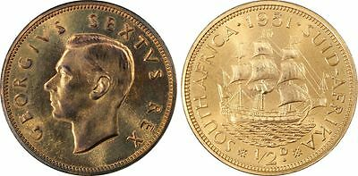 1951 South Africa Proof 1/2 Penny PCGS PR66RB
