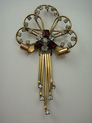 VINTAGE BAR-JAM RED CLEAR GOLD FILLED DANGLE RHINESTONE PIN BROOCH 11.3 grams