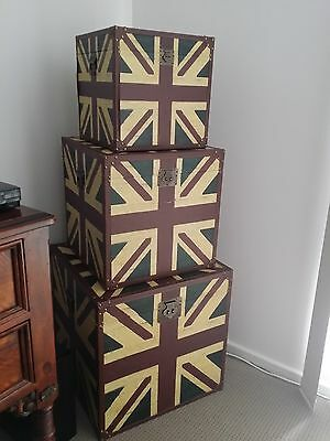 3 large retro trunks / blanket boxes / toy boxes
