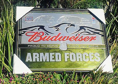 """Budweiser U.S. Armed Forces Military Beer Bar Pub  Mirror  """"New"""""""