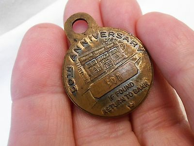 1953 Fidelity Title & Trust Co. Stamford, Conn Brass Watch Fob-50th Anniversary
